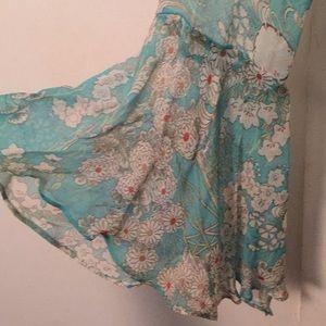 ECI Tops - ECI New York Silk sheer ruffle blouse size Small
